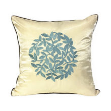 Deluxe Classic Embroidery Leaves Designer Sofa Blue Green Cushion Cover Chair Bed Decorative Pillow Case 45 x 45cm Sell by Piece(China)