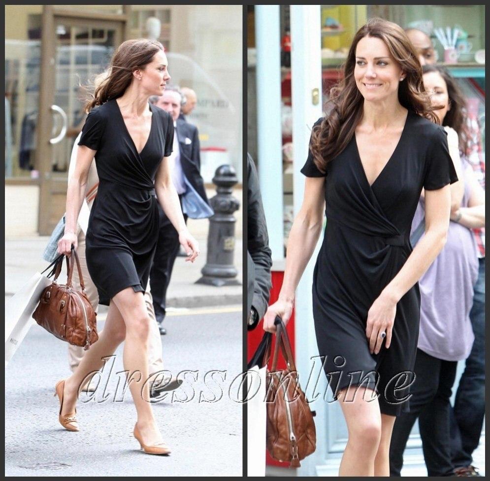 Kt007 Kate Middleton Casual V Neck Little Black Wrap Dress