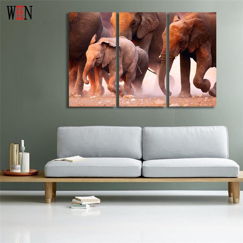 WEEN HD Gedruckt Elefanten Familie Bilder Mit Gerahmten Direkt ...