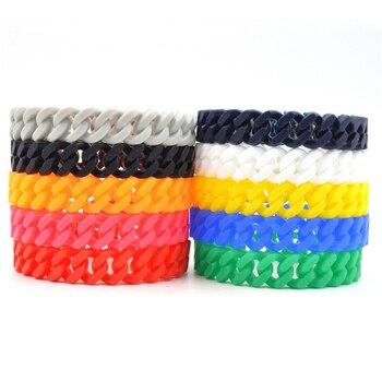 New Hot Unisex Silicone Rubber Chain Bracelets Bangles Charm Suff Fashion Bracelet