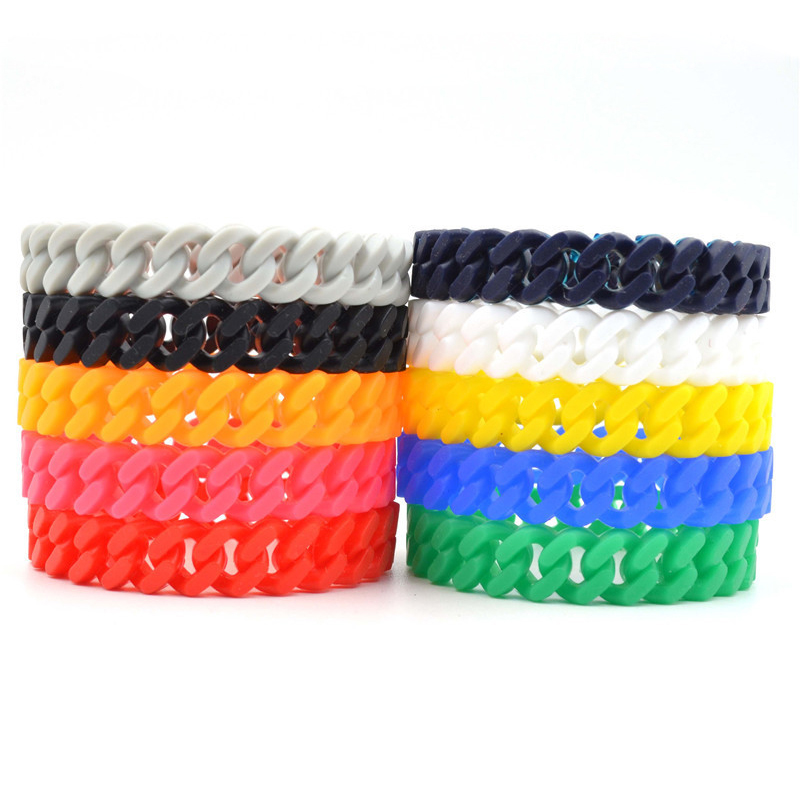 New Hot Unisex Silicone Rubber Chain Bracelets Bangles Charms