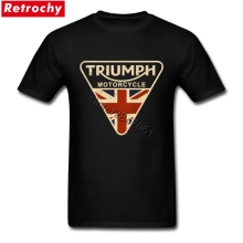 Craked Union Jack Triumph Motorcycle Shirt UK Flag Clothing Men T Shirt Men's Vintage Tee Tops Branded Gifts for Valentines Day(China)