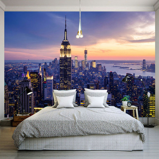 Enjoyable Us 9 53 46 Off Photo Wallpaper Modern New York City Night Landscape Wall Cloth Mural Living Room Bedroom Home Decor Wall Covering 3D Wall Paper In Download Free Architecture Designs Rallybritishbridgeorg