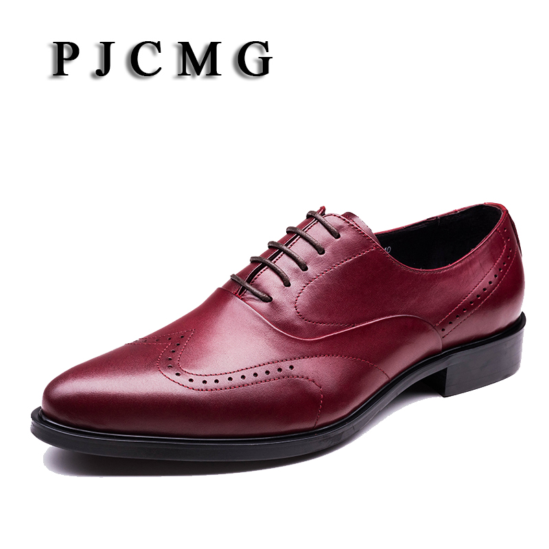 PJCMG New Breathable Mens Business Lace-Up Black/Wine Red Formal Mens Dress Genuine Leather Wedding Oxfords Office Shoes pjcmg fashion high quality wine red black formal oxfords business genuine leather lace up dress breathable mens wedding shoes