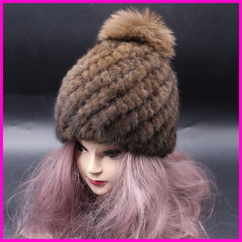 Solid Color Casual Women Russian Knitted Mink Fur Hat Fox Fur Pompom Winter Hats Ladies Skullies & Beanies mink skullies beanies hats knitted hat women 5pcs lot 2299