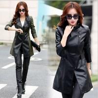 Oblique Zipper Leather Jacket Women Spring Plus Size 3XL 4XL 5XL Slim Faux Pu Outerwear Long