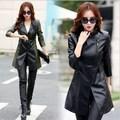 Oblique Zipper Leather Jacket Women Spring Plus Size 3XL 4XL 5XL Slim Faux Pu Outerwear Long Women Leather Trench Coat Female