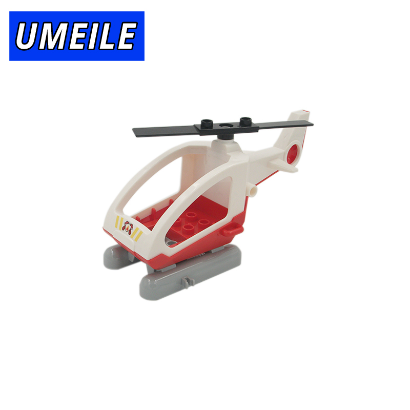 UMEILE Brand Original Classic City Fire Helicopter Rescue Plane Aircraft Model Block Educational Toys Compatible with Duplo