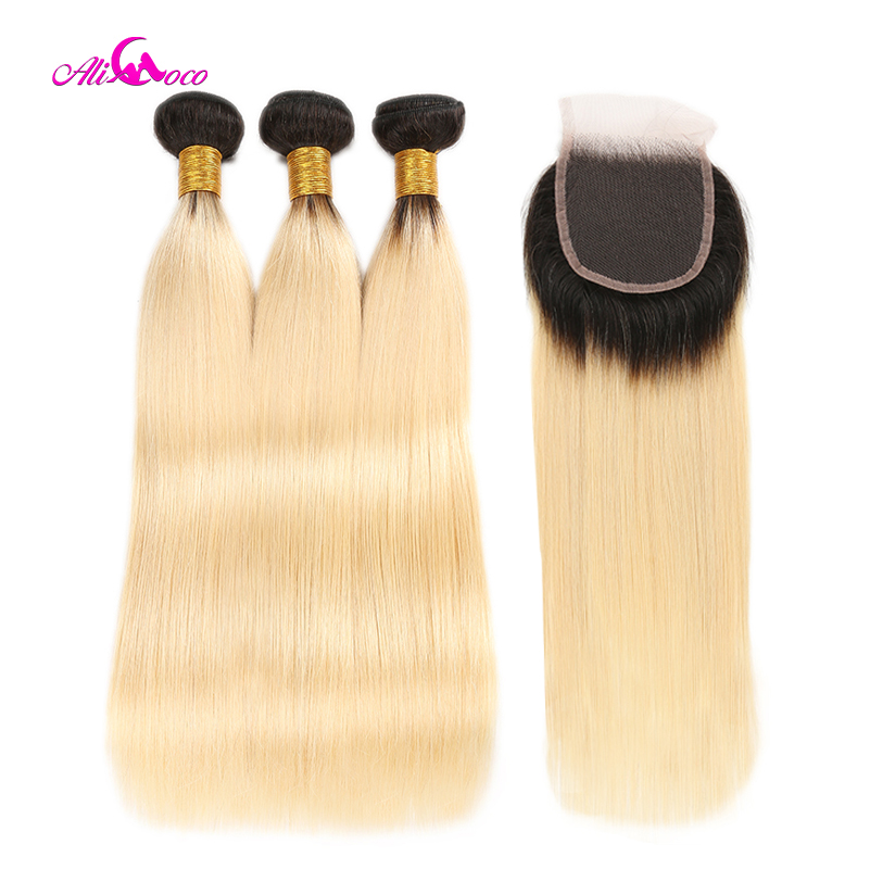 Ali Coco Brazilian Straight Hair 1B 613 Ombre Blonde Bundles with Closure Remy Human Hair Bundles Weave with Closure