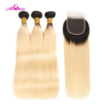 Ali Coco Brazilian Straight Hair 1B 613 Ombre Blonde Bundles with Closure Remy Human Hair Bundles Weave with Closure - DISCOUNT ITEM  50% OFF All Category