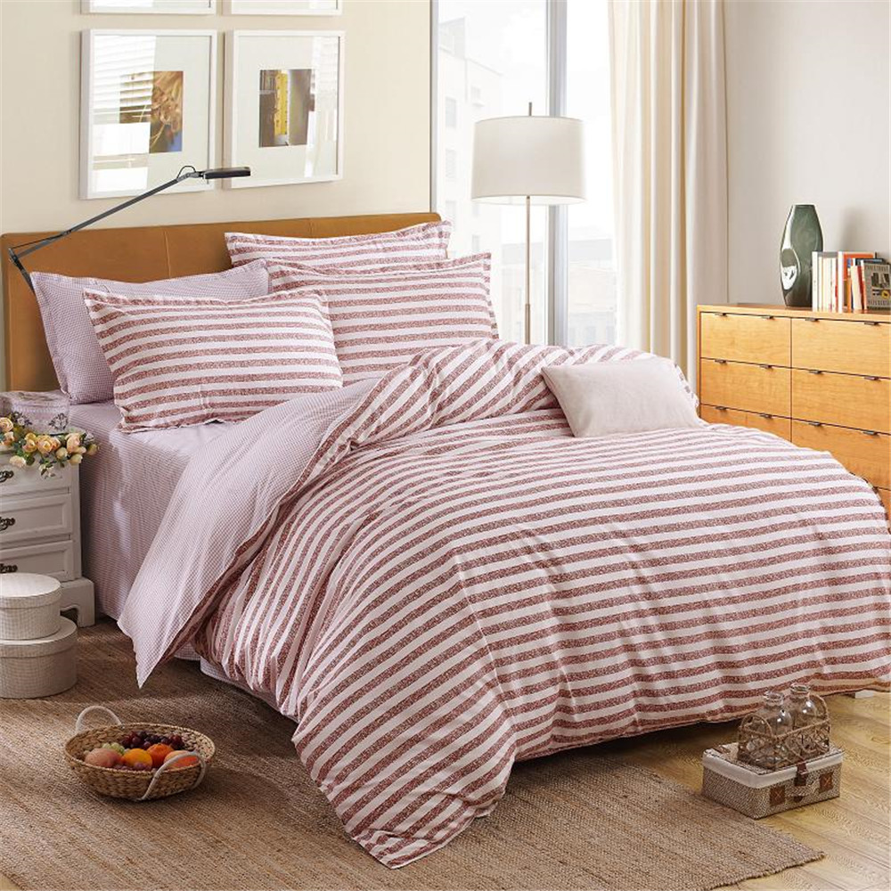 red and white striped bedding twin promotionshop for promotional  - whitejujube red stripes bedding set kidsadult simple design quiltduvetcover pillowcase bed sheet kingqueentwindouble size