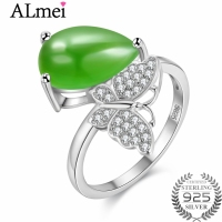 Almei 5ct Pear Cut Teardrop Shape Jasper and CZ Butterfly Rings 925 Sterling Silver Jewelry for Women Summer with Box CJ018