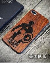 De luxe Sculpture Captain America Coque Bois Case pour iPhone 7 Rétro palissandre Bois TPU Case Couverture pour iPhone 5s 6 7 Plus