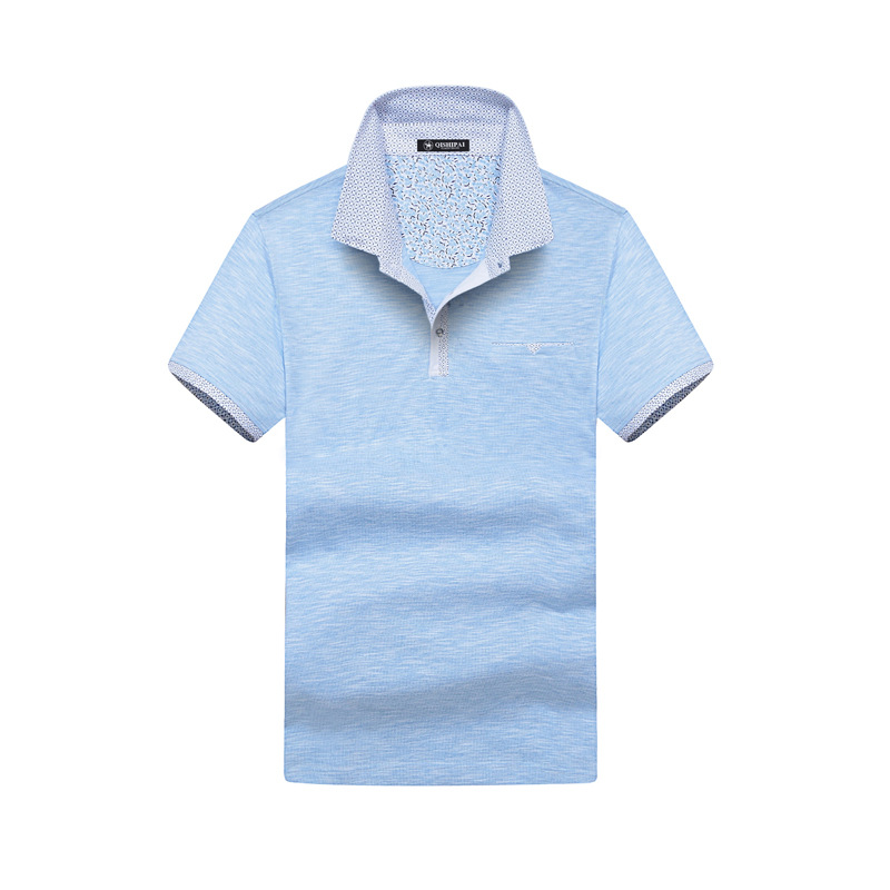 Spring and summer new short-sleeved men\u0026#39;s business casual lapel cotton solid color POLO shirt dress 88135