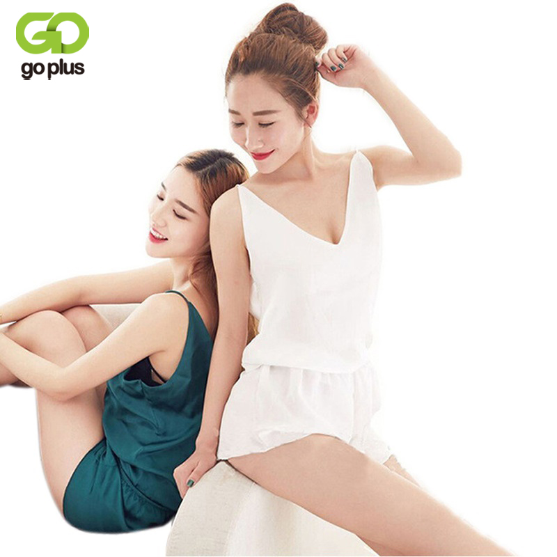 GOPLUS Pajamas Sets 2017 Summer Solid Color Silk Women Vest Shorts Sleepwear Suit V-neck Camisole 2 Piece Sexy Home ClothSuit