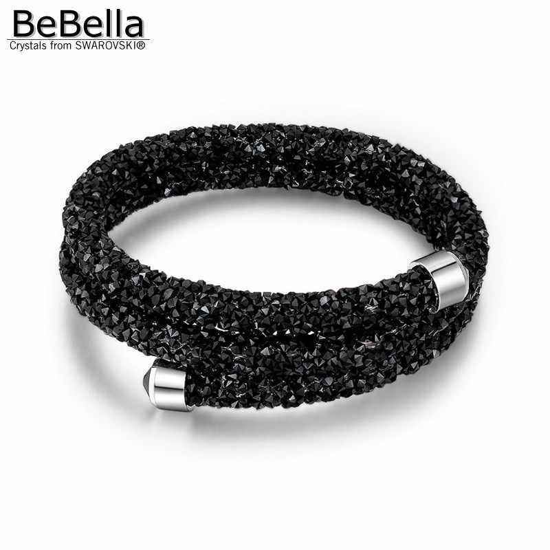 c001dc0ed1 BeBella rolled crystal cuff bangle double layer with Crystals from  Swarovski for women girl Christmas fashion jewelry gift 2018