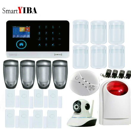 SmartYIBA APP Control Network Camera Smoke/Fire Alarm Outdoor Pet PIR Kits WIFI GSM SMS Burglar Alarm System For Home Security smartyiba 3g wifi alarm system app remote control burglar arm disarm ip camera solar powered siren pet immune pir alarm kits