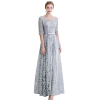 Spring Autumn Elegant Slim Embroidery Sequined Women Long Gown Party Proms For Gratuating Date Ceremony Gala Evenings Dresses