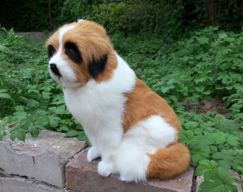 large 35x22cm simulation Saint Bernard dog Model toy lifelike furs dog model home decoration gift t168 simulation animal large 28x26cm brown fox model lifelike squatting fox decoration gift t479