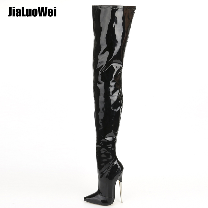 Jialuowei Crotch Støvler med Stiletto Heels Kvinner Vinter Støvler Patent Leather Black Stretch Lår High Boots Plus Size