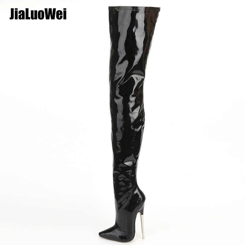 49786145a97 jialuowei Crotch Boots with Stiletto Heels Women Winter Boots Patent  Leather Black Stretch Thigh High Boots