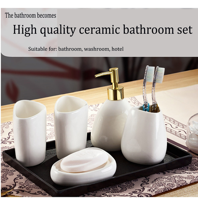 Simple Dumb White Ceramic Bathroom Accessories Set Of Bathroom Six