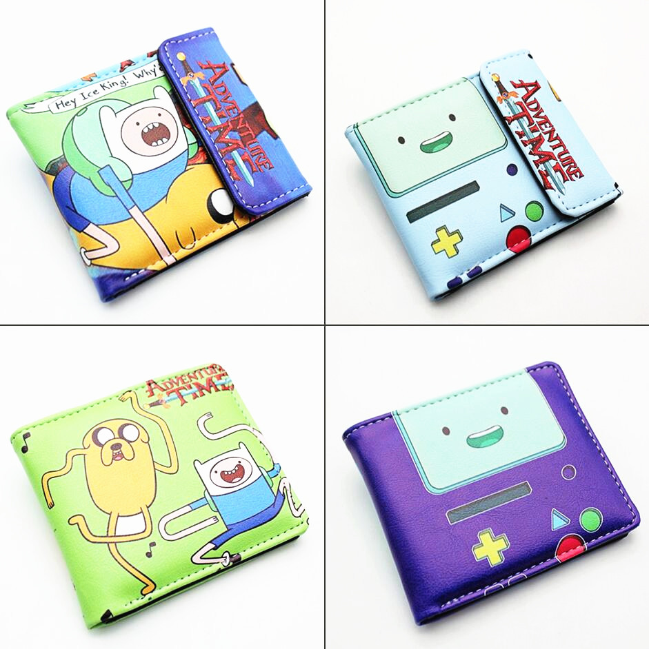 Adventure Time With Finn And Jake BMO Pu Short Wallet Bifold Card Holder Layers Purse Leather Boys Men's Print Button Wallets