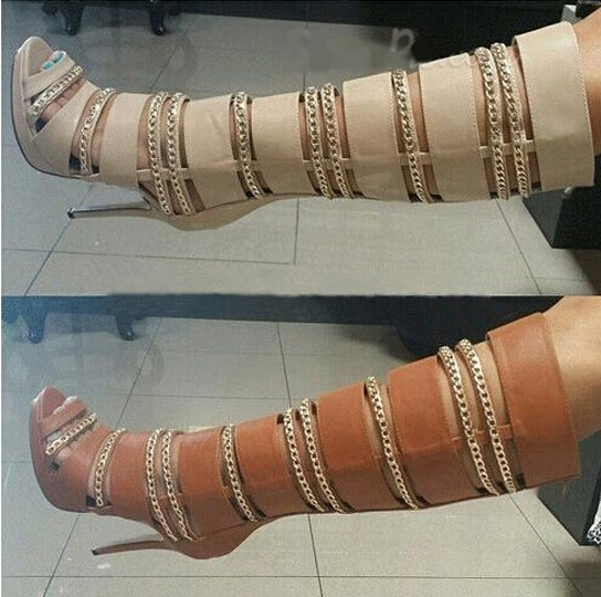 Brown/beige peep toe gold chains decoration cut-outs high heels women knee high boots super high heels peep toe platform boots adamex avila 27p brown beige