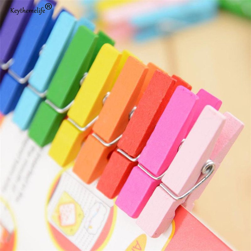 50PCS Mixed Color Mini Wooden Peg Pin Clothespin Decor Craft Clips Photo Paper Clothes 25mm 35mm 45mm Dropshipping x in Clothes Pegs from Home Garden