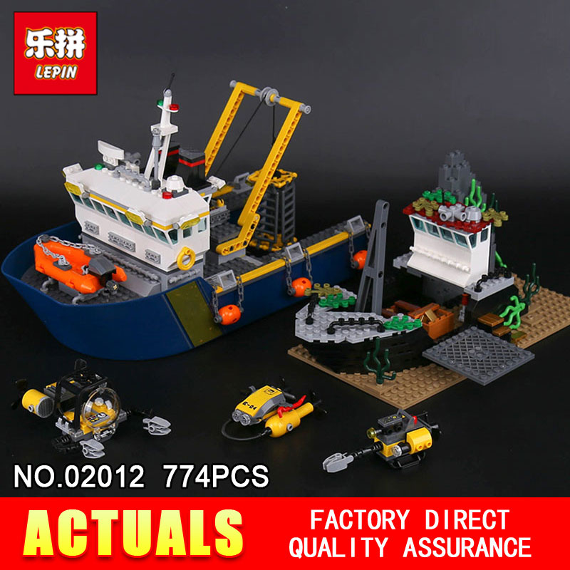 Lepin 02012 774Pcs Genuine The Deep Sea Exploration Ship Set City Series 60095 Building Blocks Bricks DIY Toys New Year Gifts lepin 16002 2791pcs modular pirate ship metal beard s sea cow building block bricks set toys legoinglys 70810 for children gifts