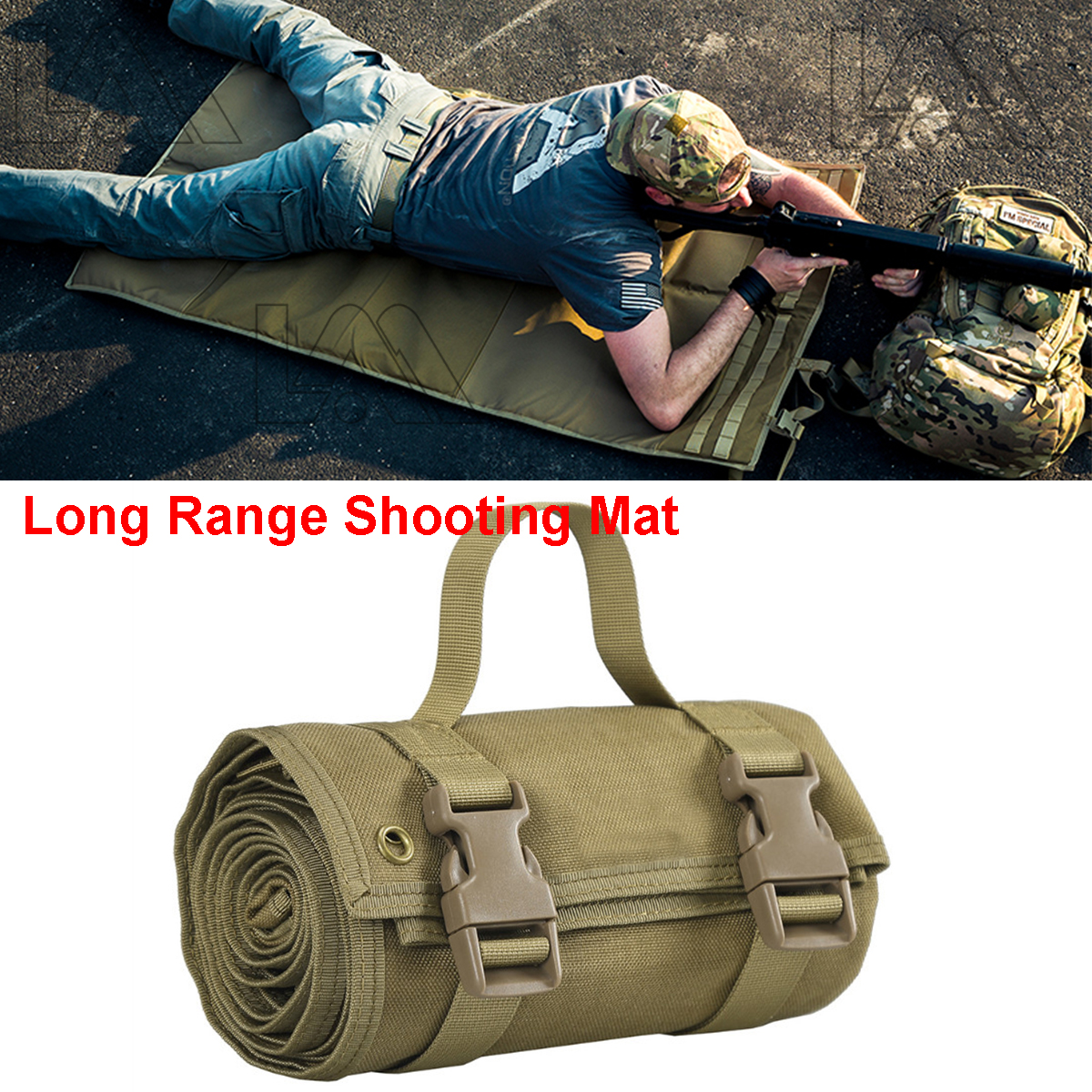 Tactical Lightweight Roll Up Shooting Mat Non padded Molle Shooting Gun Cleaning Accessories Hunting Rifle Cleaning Mat for Shot