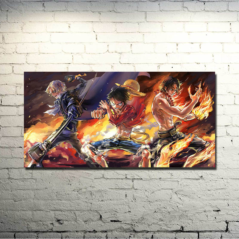 Ace Op Monkey D Luffy Japan 8x12 20x30 24x36 Silk Poster Art L-w Canvas Print Decoration 50% OFF N0825 One Piece Home & Garden Painting & Calligraphy