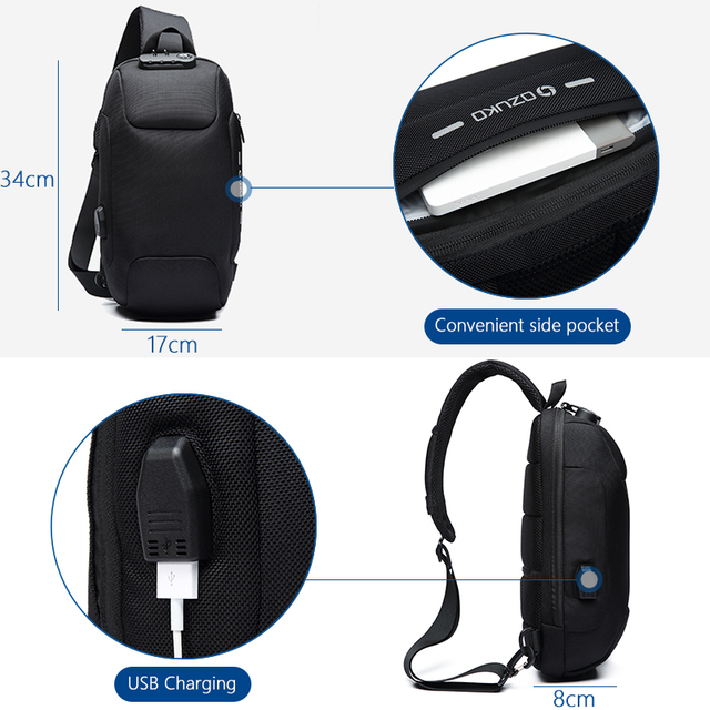 USB Interface New Multi-function Cross body Unisex Bag  With Anti-theft Lock
