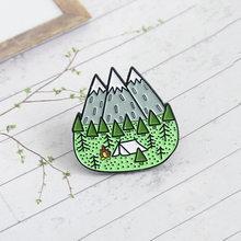 Эмалированная брошь в виде гор, дерева, джунглей, пик, природа, лес, кемпинг, приключение, Любительский значок шапка, сумка, аксессуары, модны...