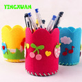 HAPPYXUAN 5pcs/lot DIY Handmade Felt Fabric Craft Kits Toys  Pen Container for Kids