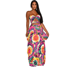 цена на Summer Women Printed A-line Floor-Length Hollow Out Floral sexy maxi Dress