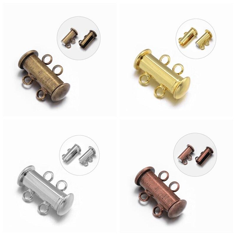 100 Set 16x10x7mm 2 Strands 4 Holes Tubo di Ottone Blocco a Scorrimento Magnetico Catenacci dei monili che fanno I Risultati diy, nichel Free, foro: 2mm-in Chiusure e componenti per gioielli da Gioielli e accessori su  Gruppo 1