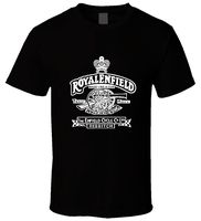 Black Men T Shirt Royal Enfield Vintage Logo 2 S 3XL T Shirt Discount 100 Cotton