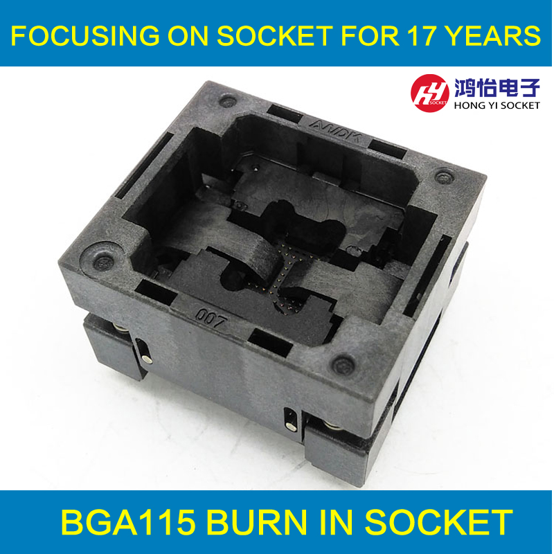 BGA115 OPEN TOP burn in socket pitch 0.8mm IC size 12*18mm BGA115(12*18)-0.8-TP01NT BGA115 VFBGA115 burn in programmer socket bga80 open top burn in socket pitch 0 8mm ic size 7 9mm bga80 7 9 0 8 tp01nt bga80 vfbga80 burn in programmer socket