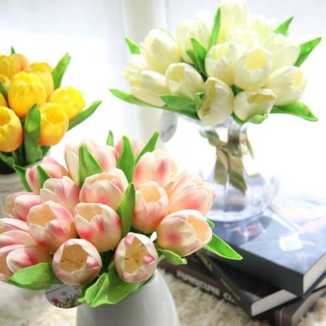 HAOCHU 2pcs Big Common Tulip Artificial Flower Bouquet Wedding Party ...