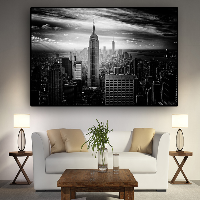 New York City Manhattan Black White Building Canvas Painting Posters And Prints Scandinavian Wall Art Picture For Living Room