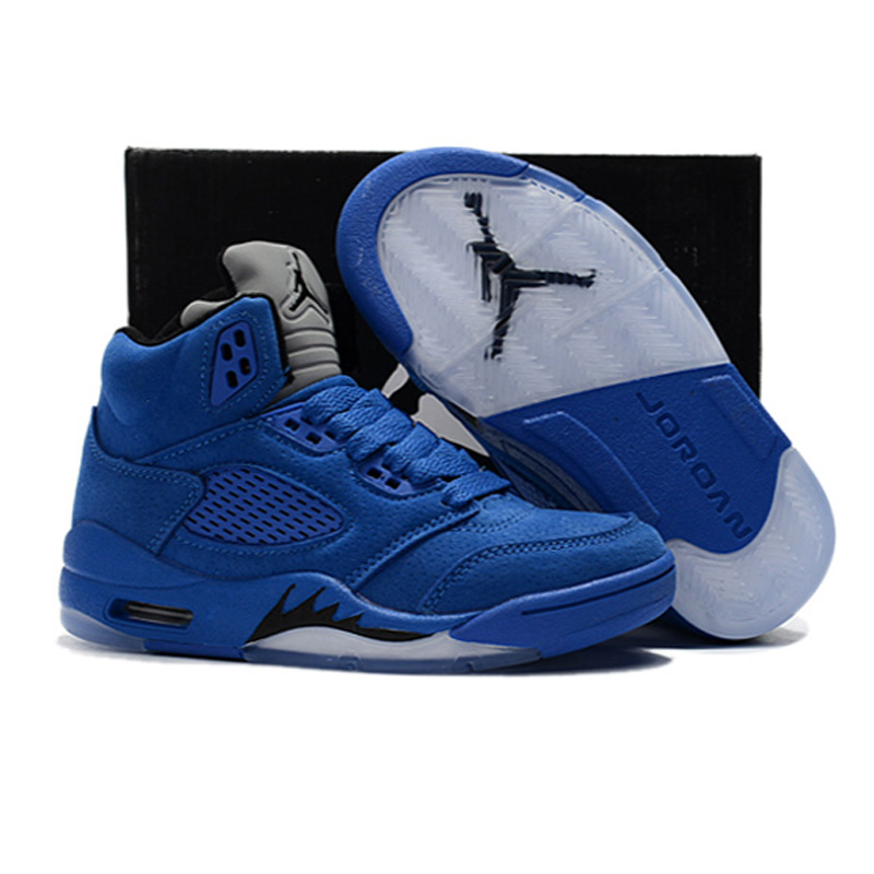 2019 Kids Shoes Children Basketball Shoes Baby AIR US JORDAN 5 Sneaker Blue suede Shoes For Boy Girl size 28 35