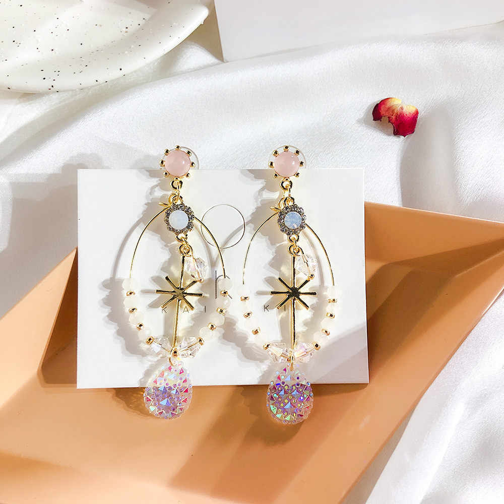 Dominated The new snow water crystal earrings contracted style restoring ancient ways multicolor metal Women Drop earrings