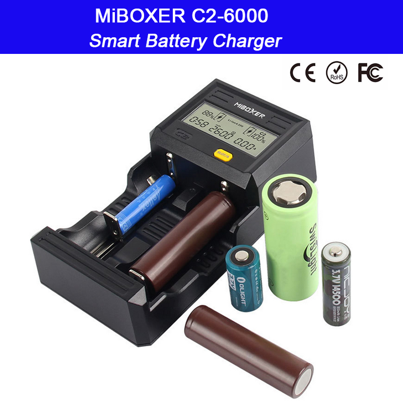 Miboxer C2-6000 2 Slots LCD Screen Smart Battery Charger for Li-ion/Ni-MH/Ni-Cd 18650 14500 26650 AAA AA battery 2 slots intelligent lcd screen battery charger miboxer c2 4000 for li ion ni mh ni cd lifepo4 18650 26650 rechargeable batteries