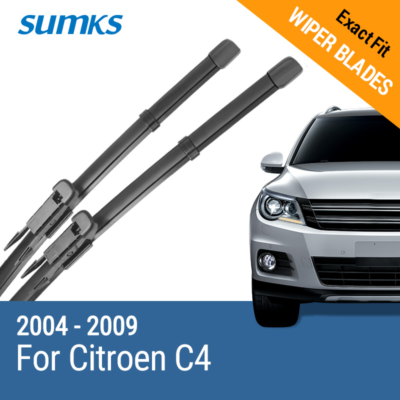 "SUMKS Windscreen Hybrid Wiper Blades untuk Citroen C4 28 ""& 24"" Fit Pinch Type Arms 2004 2005 2006 2007 2008 2009"