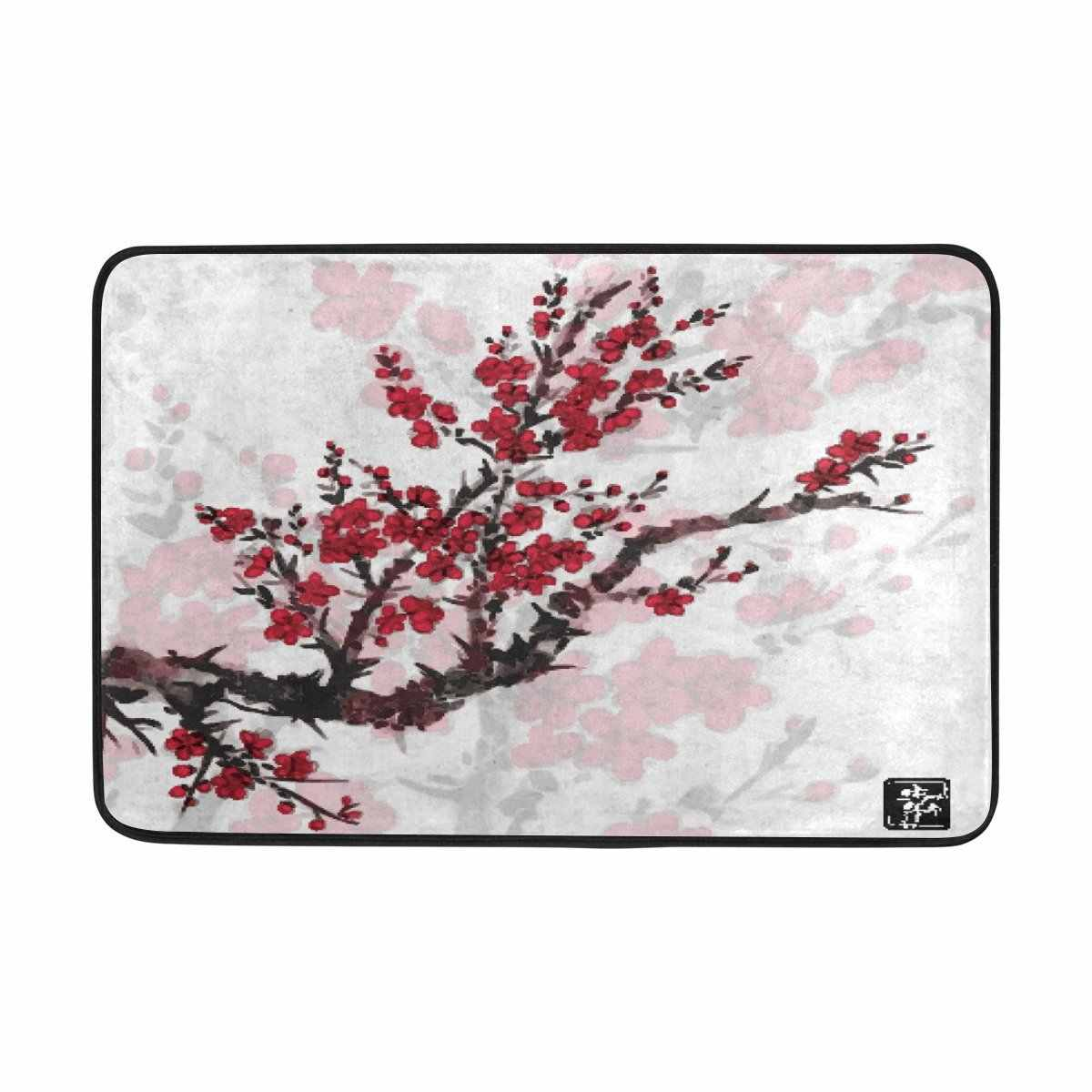 Asian Japan Japanese Shower Curtain and Mat Set, Oriental Sakura Cherry Tree Waterproof Fabric Bathroom Curtain