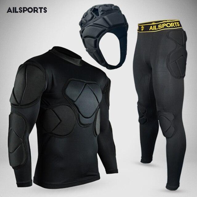 b054e9ab3de Nueva Protecciones de deporte protección espesar engranaje Fútbol portero  Jersey ropa pantalones rodilla fútbol kit Jersey