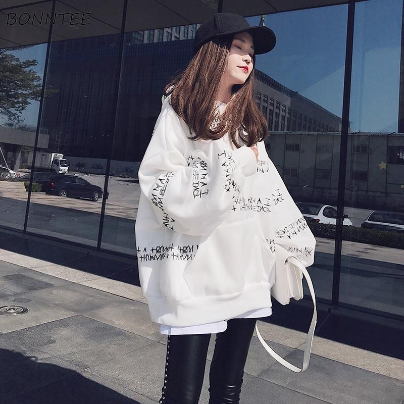 Hoodies Women Winter Thicker Plus Velvet Warm Letter Printed Loose Pullovers Womens Oversize Harajuku Korean Hoodie Ladies Chic