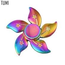 สายรุ้งB Auhiniaดอกไม้ดาวโลหะอยู่ไม่สุขปั่นมือนิ้วGyro EDCความวิตกกังวลความเครียดผู้ใหญ่เด็กนิ้วโลหะเหยื่อของเล่นW069
