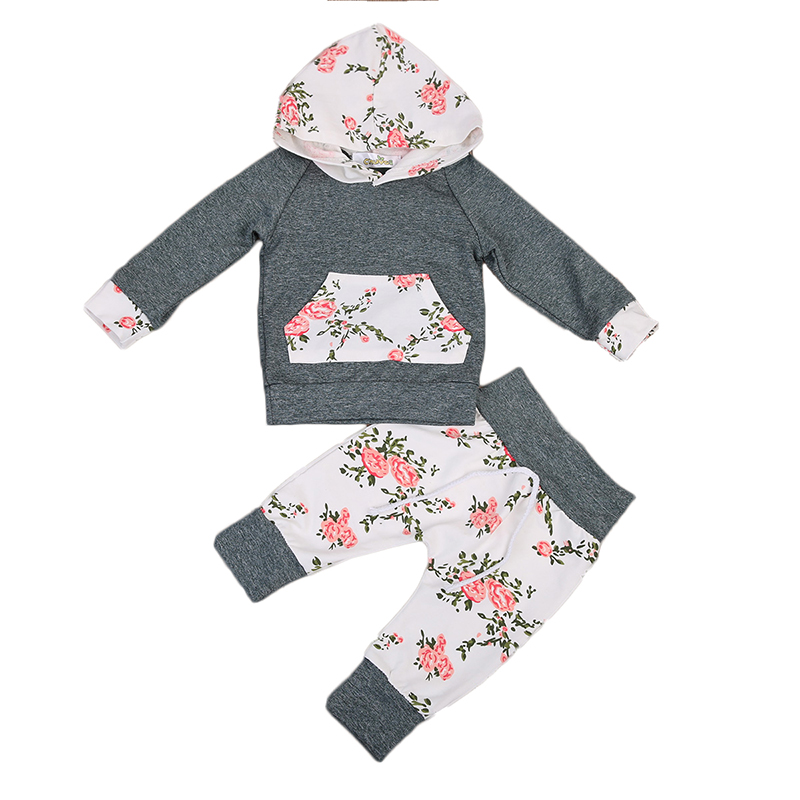 Floral Newborn Baby Clothes Infant Bebes Long Sleeve Hooded T-shirt Tops Pant Trouser 2PCS Outfit Toddler Kids Clothing Set 2017 newborn baby boy girl clothes floral infant bebes romper bodysuit and bloomers bottom 2pcs outfit bebek giyim clothing